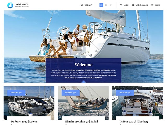 Jadranka Yachting | Web application development