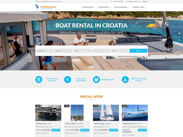 Web application Yacht Holiday