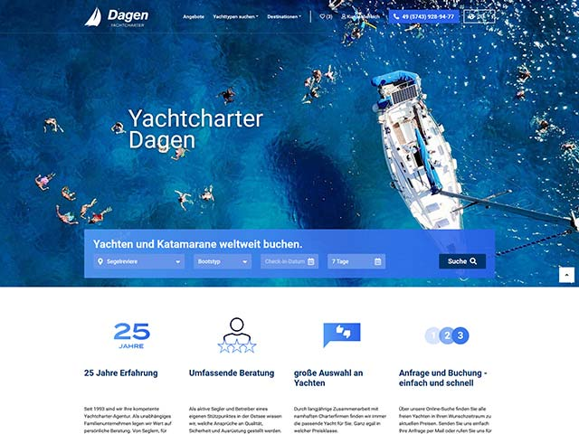 Yachtcharter Dagen | Web application development